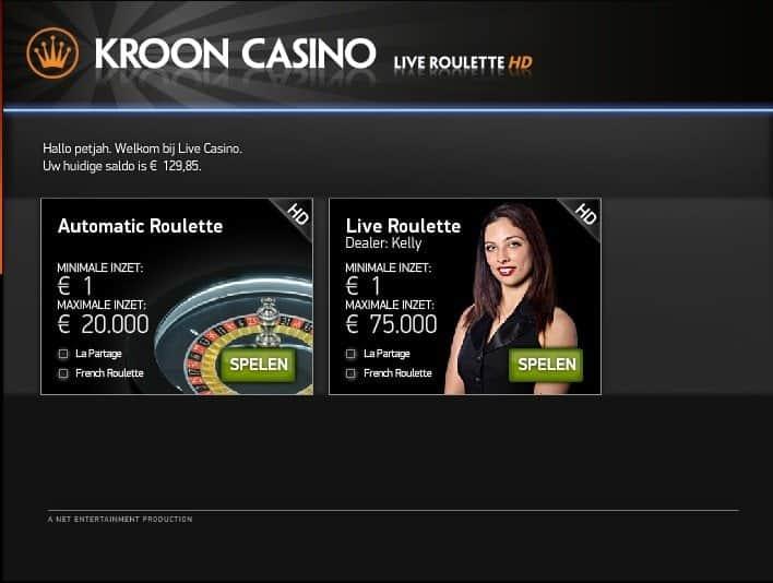 Kroon Casino - Roulette HD - La Partage regel