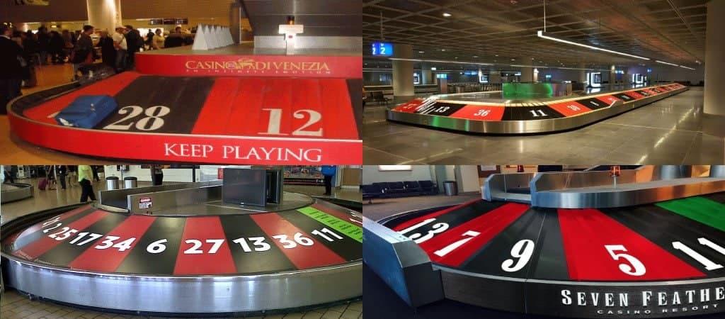 Vliegvelden die een roulette bagageband hebben