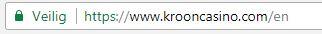 De website van Kroon Casino is beveiligd met SSL