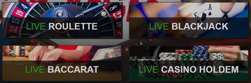 De games in het live casino