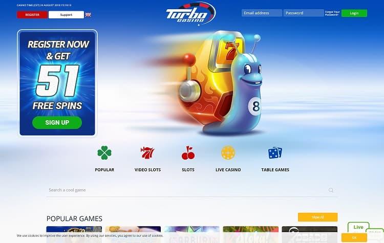 De website van Turbo Casino. Spelen maar