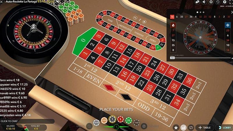 Vanaf 0,10 eurocent per ronde spelen bij Auto-Roulette La Partage van Evolution Gaming