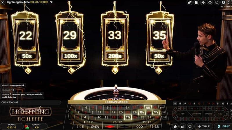 Vier lighting getallen zijn gekozen bij Lighting Roulette