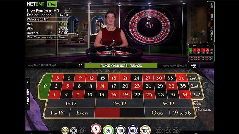 Speel tot 100.00 euro per ronde met Live Roulette Pro van NetEnt