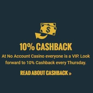 Bonus van no account casino