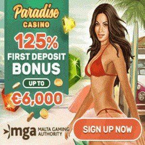De 125% casino bonus van paradise casino